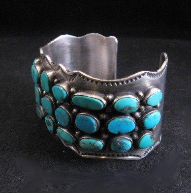 Image 2 of Morenci Turquoise Sterling Silver Cuff Bracelet, Navajo Etta Endito