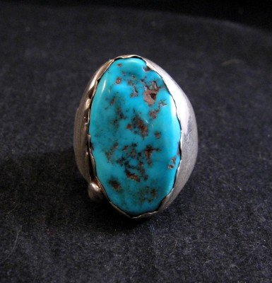 Image 0 of Native American Zuni Turquoise Silver Ring Sz11-1/4 - Nieto