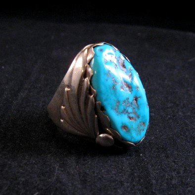 Image 1 of Native American Zuni Turquoise Silver Ring Sz11-1/4 - Nieto