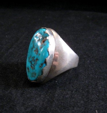 Image 2 of Native American Zuni Turquoise Silver Ring Sz11-1/4 - Nieto