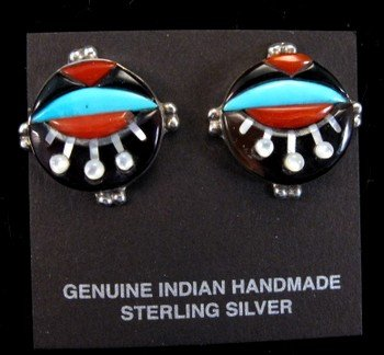 Colorful Virginia Quam Zuni Inlay Silver Earrings