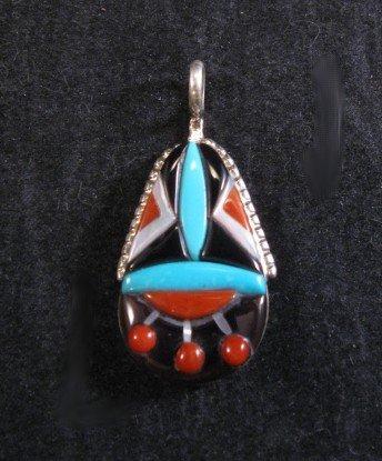 Image 0 of Zuni Raised Multigem Inlay Silver Pendant, Virginia Quam