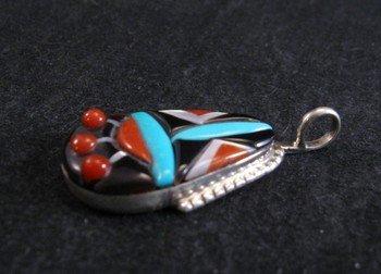 Image 1 of Zuni Raised Multigem Inlay Silver Pendant, Virginia Quam