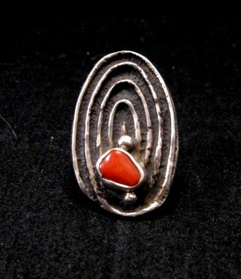 Image 0 of Sterling Silver Tufa Cast Coral Ring sz5-1/2, John Hornbek