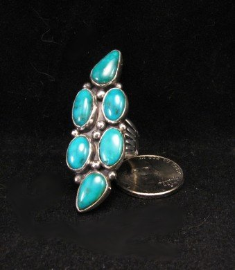 Image 0 of Kathy Yazzie ~ Navajo ~ Turquoise Silver Ring sz8