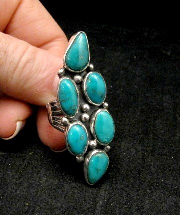 Image 1 of Kathy Yazzie ~ Navajo ~ Turquoise Silver Ring sz8
