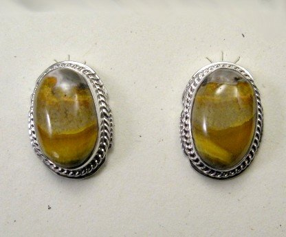 Navajo Earrings, Bumblebee Jasper, Larson Lee