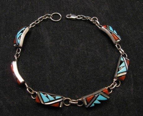 Zuni Native American Inlaid link Bracelet, Clarence Booqua