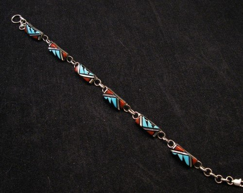 Image 1 of Zuni Native American Inlaid link Bracelet, Clarence Booqua