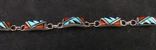 Image 2 of Zuni Native American Inlaid link Bracelet, Clarence Booqua