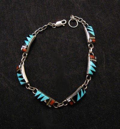 Delicate Zuni Multigem Inlaid link Bracelet, Clarence Booqua