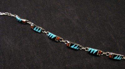 Image 1 of Delicate Zuni Multigem Inlaid link Bracelet, Clarence Booqua