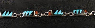 Image 2 of Delicate Zuni Multigem Inlaid link Bracelet, Clarence Booqua