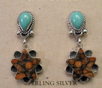 Navajo Variscite Snakeskin Sponge Coral Dangle Earrings
