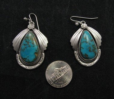 Image 0 of Navajo Natural Turquoise Earrings, Martha Willeto
