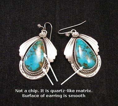 Image 1 of Navajo Natural Turquoise Earrings, Martha Willeto