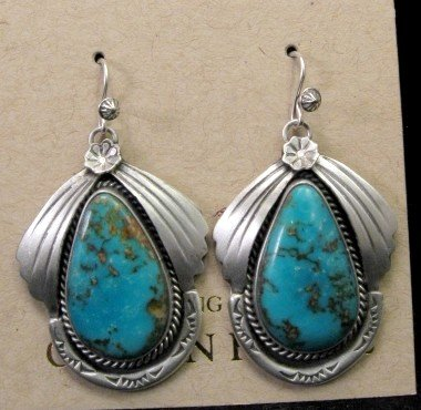 Image 2 of Navajo Natural Turquoise Earrings, Martha Willeto