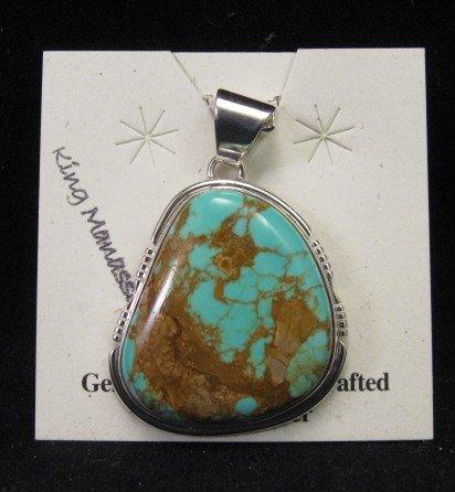 Image 2 of Navajo King Manassa Turquoise Pendant - Arkie Nelson
