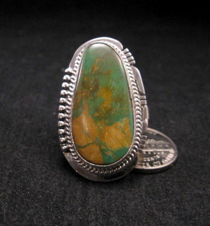 Navajo Crow Springs Turquoise Silver Ring sz9, John Nelson