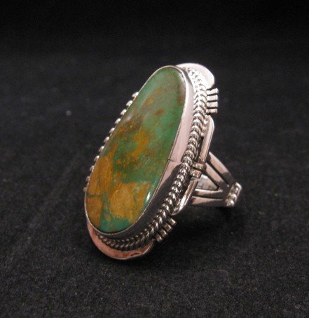 Image 1 of Navajo Crow Springs Turquoise Silver Ring sz9, John Nelson
