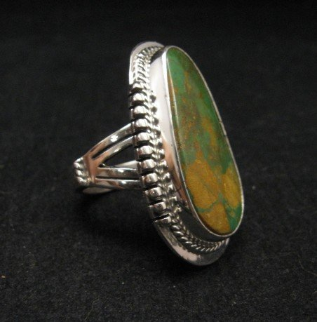 Image 2 of Navajo Crow Springs Turquoise Silver Ring sz9, John Nelson