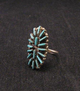 Image 1 of Zuni Indian Jewelry Turquoise Needlepoint Silver Ring sz6-1/2
