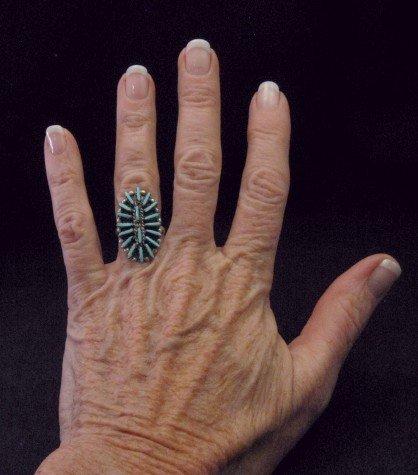 Image 2 of Zuni Indian Jewelry Turquoise Needlepoint Silver Ring sz6-1/2