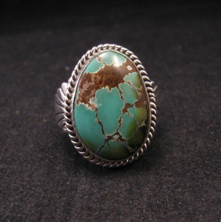 Image 0 of Wilson Padilla, Navajo, Candelaria Turquoise Silver Ring sz10