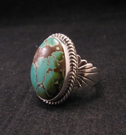Image 1 of Wilson Padilla, Navajo, Candelaria Turquoise Silver Ring sz10