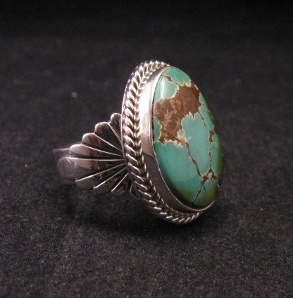 Image 2 of Wilson Padilla, Navajo, Candelaria Turquoise Silver Ring sz10