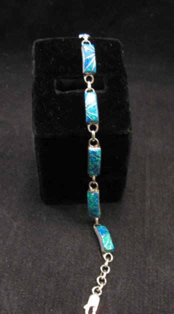 Image 0 of Blue Lab Opal Zuni Inlaid Link Bracelet, Clarence Booqua