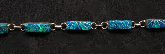 Image 1 of Blue Lab Opal Zuni Inlaid Link Bracelet, Clarence Booqua