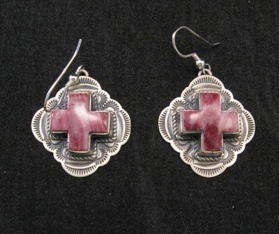 Image 0 of Kevin Ramone Old Style Navajo Spiny Oyster Cross Earrings