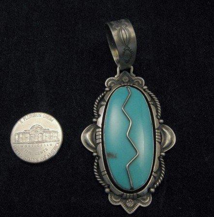 Image 2 of Kingman Turquoise & Silver Overlay Pendant by Fritzon Toledo (Navajo)