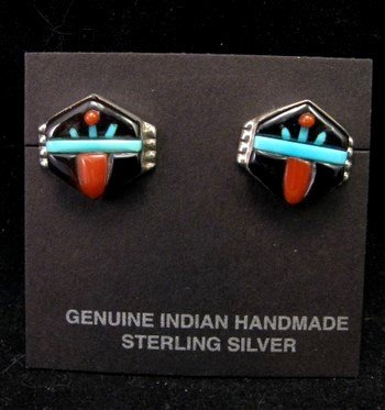 Small Virginia Quam Zuni Turquoise Multistone Sterling Silver Earrings