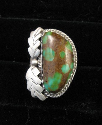 Image 0 of Navajo Gold Acres Turquoise Ring sz7 to sz9 adjustable, Martha Willeto