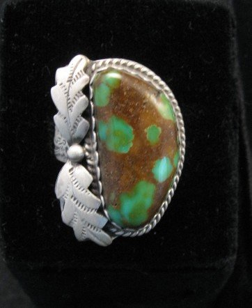 Image 1 of Navajo Gold Acres Turquoise Ring sz7 to sz9 adjustable, Martha Willeto