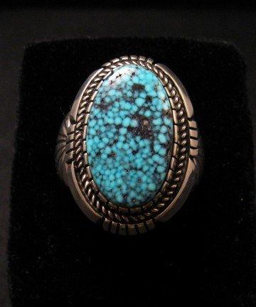 Kingman Turquoise Navajo Silver Ring sz11, Delbert Vandever