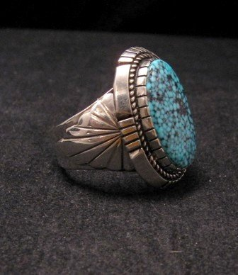 Image 1 of Kingman Turquoise Navajo Silver Ring sz11, Delbert Vandever