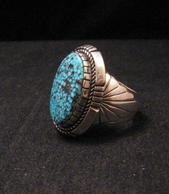Image 2 of Kingman Turquoise Navajo Silver Ring sz11, Delbert Vandever