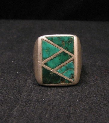 Image 0 of Old Vintage Pawn Zuni Turquoise Flush Inlay Ring sz10-1/2