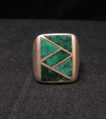Image 0 of Old Vintage Pawn Zuni Turquoise Flush Inlay Ring sz10-1/2