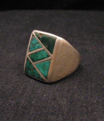 Image 2 of Old Vintage Pawn Zuni Turquoise Flush Inlay Ring sz10-1/2