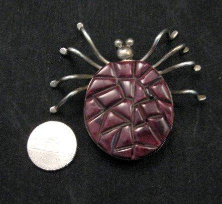 Image 2 of Ray Adakai ~ Navajo Pawn ~ Cobblestone Spider Pin / Pendant