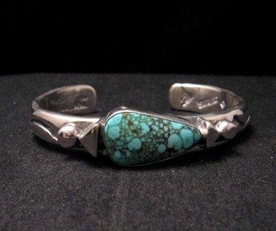 Orville Tsinnie Kingman Turquoise Stamped Silver Bracelet