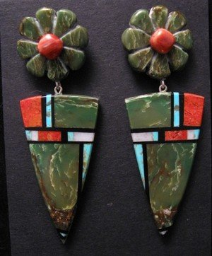 Image 0 of Santo Domingo Kewa ~ Christopher Nieto ~ Natural Stone Inlay Earrings