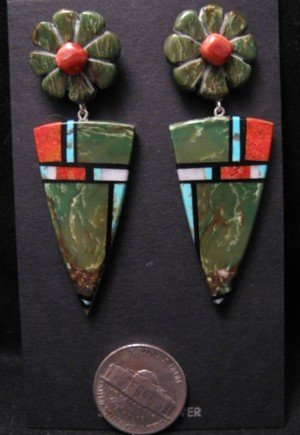 Image 1 of Santo Domingo Kewa ~ Christopher Nieto ~ Natural Stone Inlay Earrings