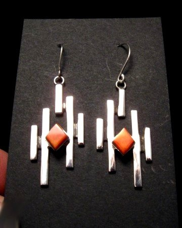 Image 0 of Contemporary Navajo/Dine Handmade Silver Earrings, Ronnie Henry