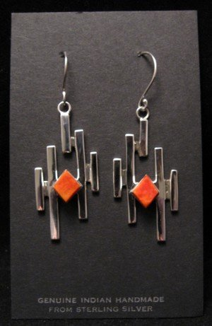 Image 1 of Contemporary Navajo/Dine Handmade Silver Earrings, Ronnie Henry