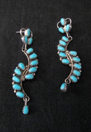 Elegant Zuni Turquoise Petit Point Dangle Earrings